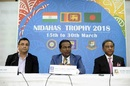 Rahul Johri, Thilanga Sumathipala and Nazmul Hasan at the announcement of the triangular series, Colombo, March 16, 2017