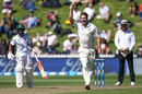 Colin de Grandhomme celebrates the wicket of Faf du Plessis, New Zealand v South Africa, 2nd Test, Wellington, 2nd day, March 17, 2016
