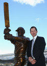 Ricky Ponting with a newly unveiled statue of himself, Bellerive Oval, Hobart, December 9, 2015