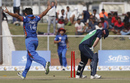 Gulbadin Naib celebrates after removing Ed Joyce, Afghanistan v Ireland, 2nd ODI, Greater Noida, March 17, 2017