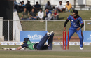 Gary Wilson dives to make his crease as Rashid Khan watches, Afghanistan v Ireland, 2nd ODI, Greater Noida, March 17, 2017