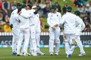 Keshav Maharaj gets a hug from his captain Faf du Plessis after a wicket, New Zealand v South Africa, 2nd Test, Wellington, 3rd day, March 18, 2017