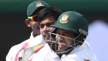 Mehedi Hasan Miraz gets a hug from his captain Mushfiqur Rahim