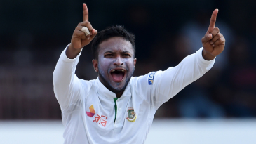 Shakib Al Hasan goes up in an appeal