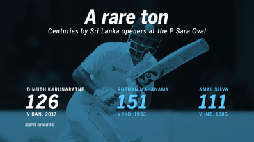 Dimuth Karunaratne's was only the third hundred by SL openers at P Sara