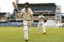 Adam Voges acknowledges the spectators as he walks off after declaring, Western Australia v New South Wales, Sheffield Shield 2016-17, 3rd day, Perth, March 18, 2017
