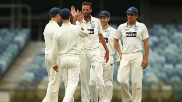 Trent Copeland celebrates one of his wickets