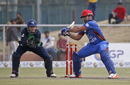 Samiullah Shenwari lays into a cut shot, Afghanistan v Ireland, 3rd ODI, Greater Noida, March 19, 2017
