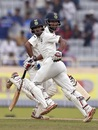 Wriddhiman Saha and Cheteshwar Pujara run between the wickets during their 199-run partnership, India v Australia, 3rd Test, Ranchi, 4th day, March 19, 2017