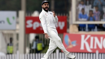 Virat Kohli is visibly pleased after Ravindra Jadeja took a wicket off the day's last ball