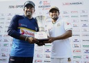 Rangana Herath and Mushfiqur Rahim pose with the trophy after the series ended in a draw, Sri Lanka v Bangladesh, 2nd Test, Colombo, 5th day, March 19, 2017