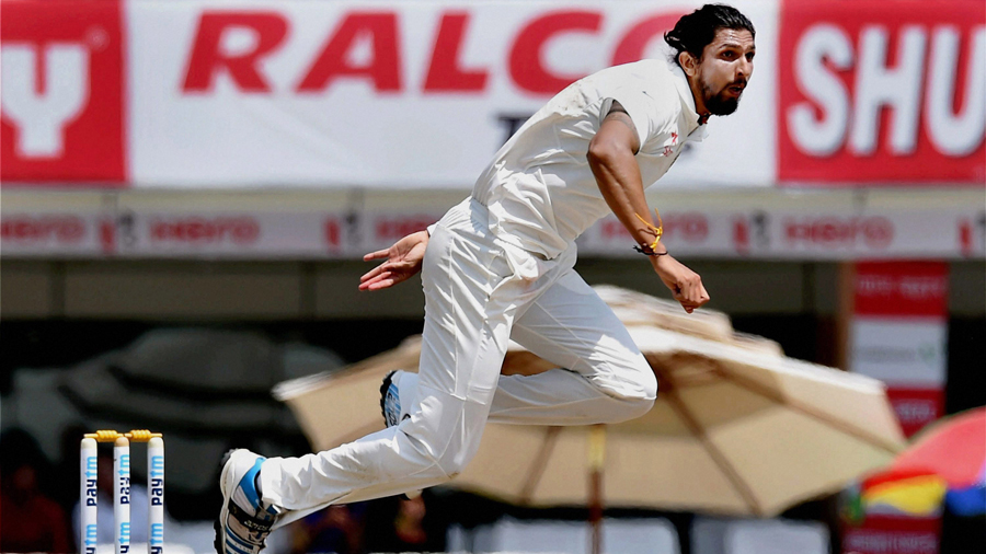 Ishant Sharma is air borne in his follow through