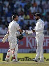Matthew Wade shakes hands with Virat Kohli after play on the final day ended, India v Australia, 3rd Test, Ranchi, 5th day, March 20, 2017