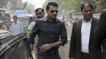 Sharjeel Khan appears at the offices of the Federal Investigation Authority