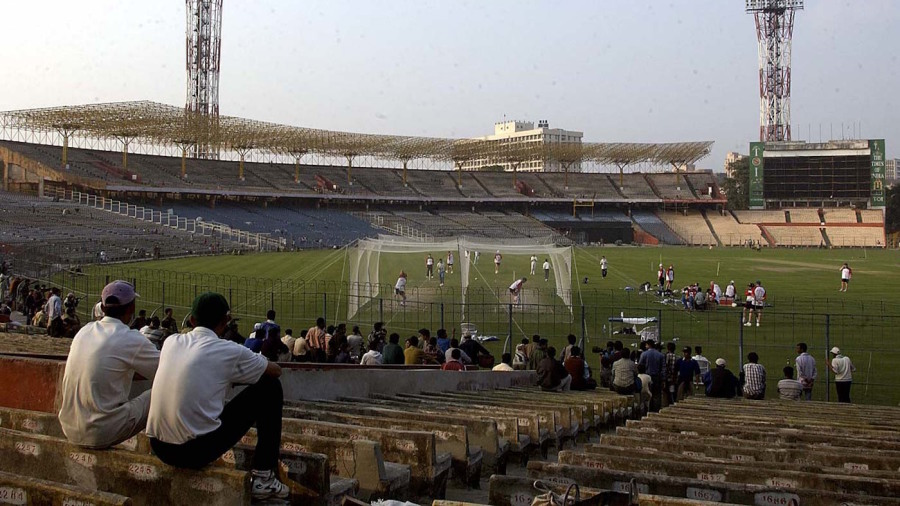 People gather at Eden Gardens to watch England at the nets