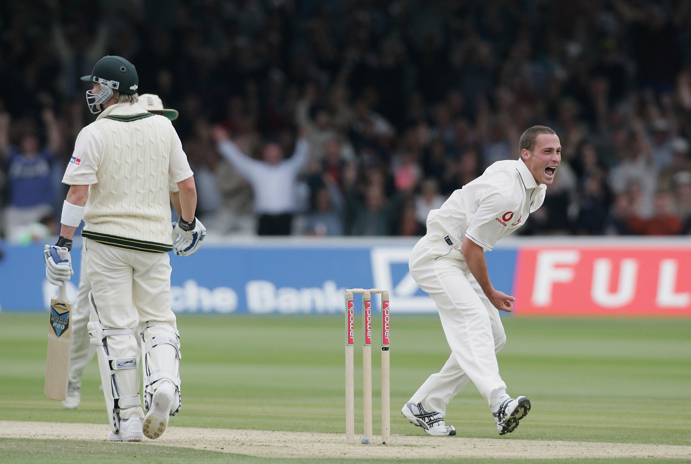 Simon Jones gets Michael Clarke at Edgbaston in 2005: