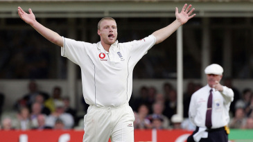 Andrew Flintoff raises his arms in celebration