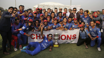 Afghanistan celebrate winning the ODI series against Ireland in March in India