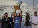 Asghar Stanikzai lifts the series trophy, Afghanistan v Ireland, 5th ODI, Greater Noida, March 24, 2017