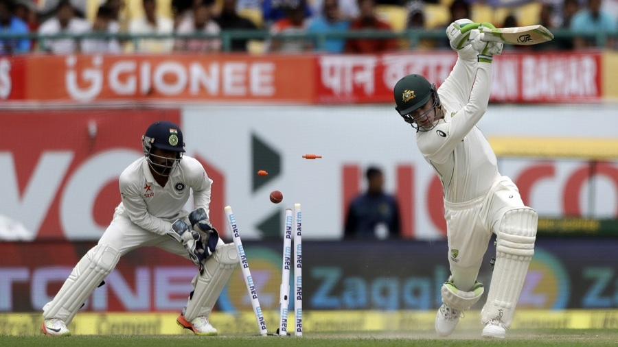Peter Handscomb was bowled through the gate by Kuldeep Yadav