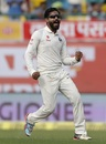 Ravindra Jadeja celebrates the wicket of Matthew Wade, India v Australia, 4th Test, Dharamsala, 1st day, March 25, 2017