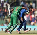 Collision course: Sabbir Rahman bangs into Sachith Pathirana while taking a run, Sri Lanka v Bangladesh, 1st ODI, Dambulla, March 25, 2017