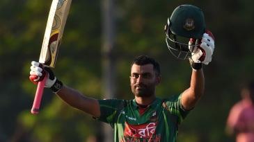 Tamim Iqbal celebrates his eighth ODI century