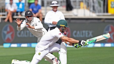 Tom Latham prepares to take a stunning catch to dismiss Faf du Plessis