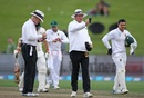 Bruce Oxenford and Rod Tucker take a light reading, New Zealand v South Africa, 3rd Test, Hamilton, 2nd day, March 26, 2017