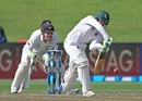 Quinton de Kock presses forward to defend, New Zealand v South Africa, 3rd Test, Hamilton, 2nd day, March 26, 2017