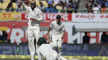 Nathan Lyon had Cheteshwar Pujara caught at short leg