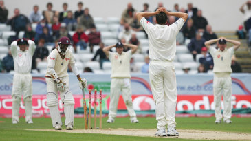 England look disappointed after their appeal for Shivnarine Chanderpaul's wicket is turned down