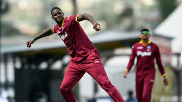 Jason Holder is pumped after getting the wicket of Ahmed Shehzad