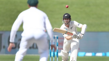 Kane Williamson taps the ball to mid-off