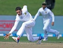 Keshav Maharaj fields off his own bowling, New Zealand v South Africa, 3rd Test, Hamilton, 3rd day, March 27, 2017