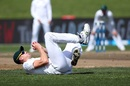 Morne Morkel tumbles down as he fields, New Zealand v South Africa, 3rd Test, Hamilton, 3rd day, March 27, 2017