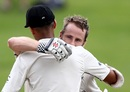 Kane Williamson is embraced by Jeet Raval after his century, New Zealand v South Africa, 3rd Test, Hamilton, 3rd day, March 27, 2017