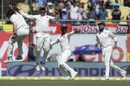 India's fielders celebrate after Umesh Yadav dismissed Matt Renshaw, India v Australia, 4th Test, Dharamsala, 3rd day, March 27, 2017