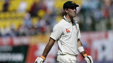 Glenn Maxwell walks off the field after being trapped lbw