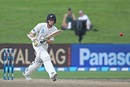 Mitchell Santner taps the ball down the ground, New Zealand v South Africa, 3rd Test, Hamilton, 4th day, March 28, 2017