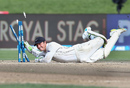 BJ Watling takes off the bails to remove Theunis de Bruyn, New Zealand v South Africa, 3rd Test, Hamilton, 4th day, March 28, 2017