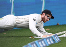 Kane Williamson slides to keep the ball in play, New Zealand v South Africa, 3rd Test, Hamilton, 4th day, March 28, 2017