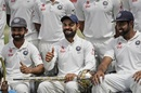 Ajinkya Rahane, Virat Kohli and R Ashwin smile for the cameras, India v Australia, 4th Test, Dharamsala, 4th day, March 28, 2017