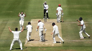 Jon Holland celebrates the wicket of Travis Head