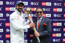Virat Kohli receives the ICC Test mace from Sunil Gavaskar, India v Australia, 4th Test, Dharamsala, 4th day, March 28, 2017