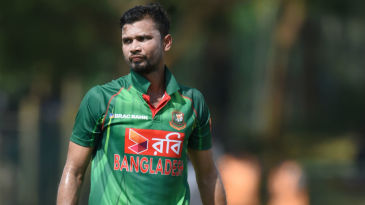 Mashrafe Mortaza gets attention from the physio after damaging his knee brace