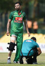 Mashrafe Mortaza gets attention from the physio after damaging his knee brace, Sri Lanka v Bangladesh, 2nd ODI, Dambulla, March 28, 2017