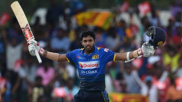 Kusal Mendis celebrates his maiden ODI ton