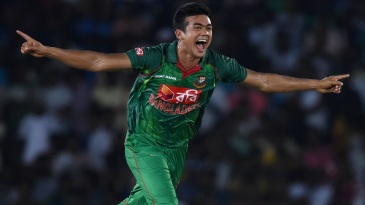 Taskin Ahmed is elated after taking a wicket