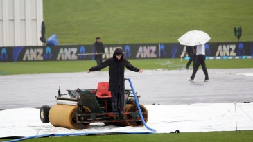 The groundstaff were kept busy on the final day in Hamilton